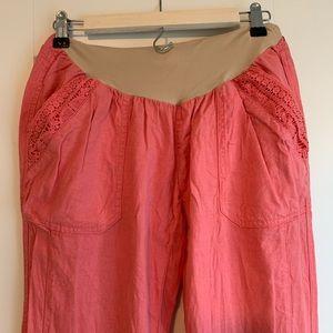 Full Panel Linen Blend Maternity Pants